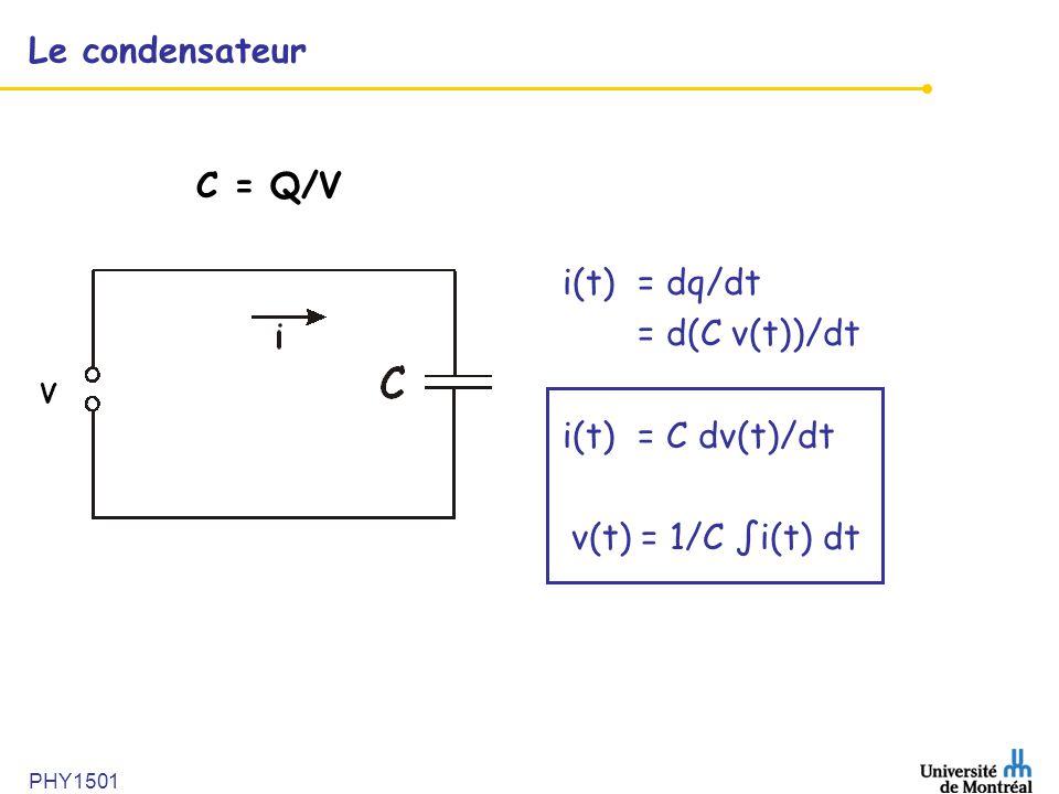 PHY1501 Le condensateur i(t)= dq/dt = d(C v(t))/dt i(t)= C dv(t)/dt v(t) = 1/C i(t) dt V C = Q/V
