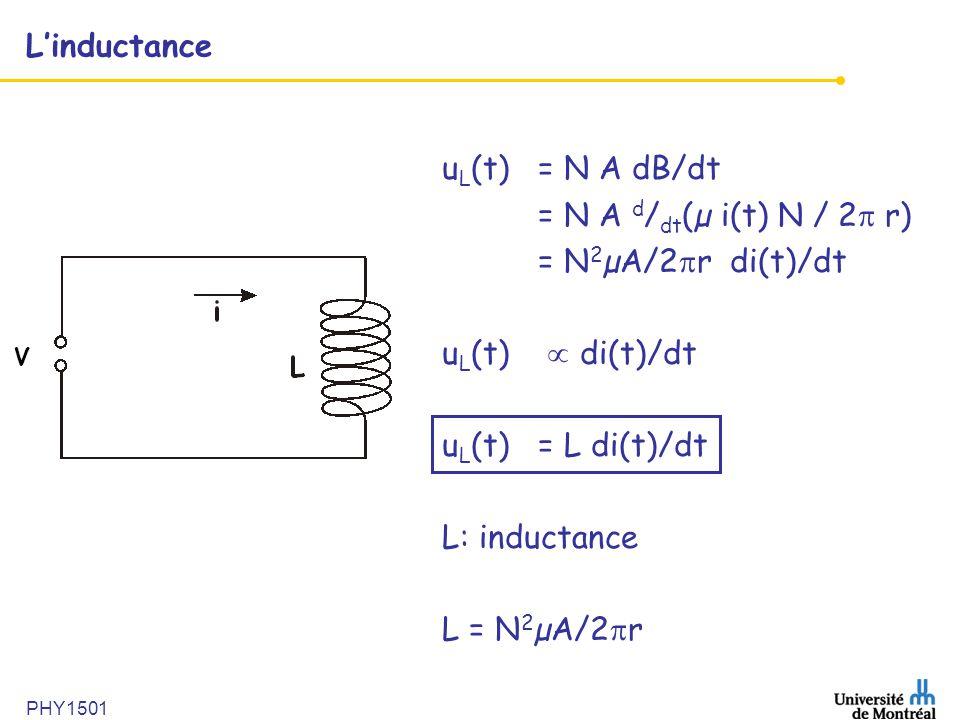 PHY1501 Linductance u L (t) = N A dB/dt = N A d / dt (µ i(t) N / 2 r) = N 2 µA/2 r di(t)/dt u L (t) di(t)/dt u L (t)= L di(t)/dt L: inductance L = N 2
