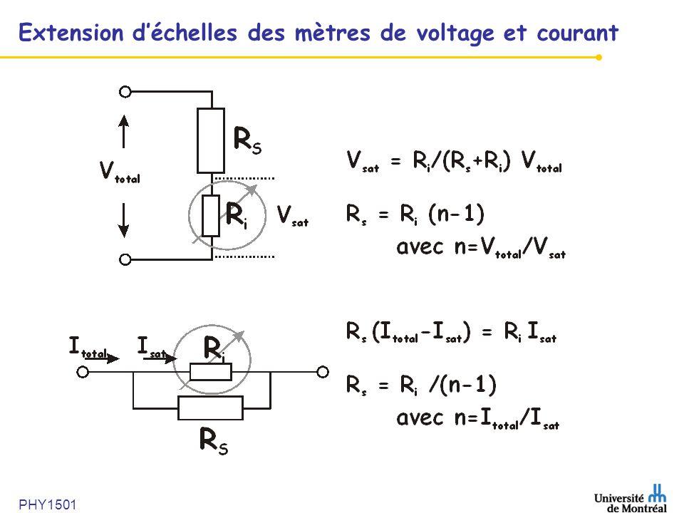 PHY1501 Extension déchelles des mètres de voltage et courant