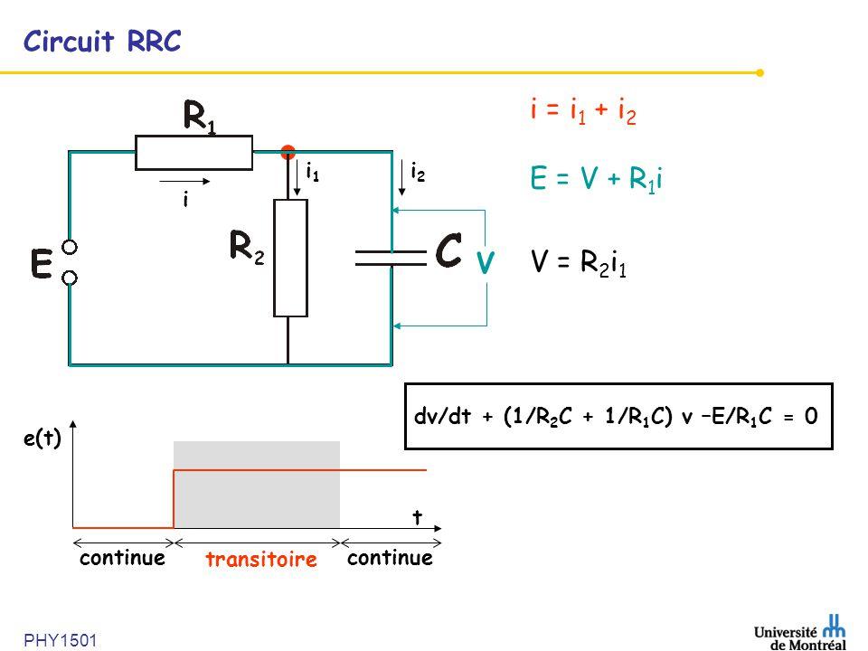 PHY1501 Circuit RRC i = i 1 + i 2 E = V + R 1 i V = R 2 i 1 i i1i1 i2i2 V e(t) t continue transitoire continue dv/dt + (1/R 2 C + 1/R 1 C) v –E/R 1 C
