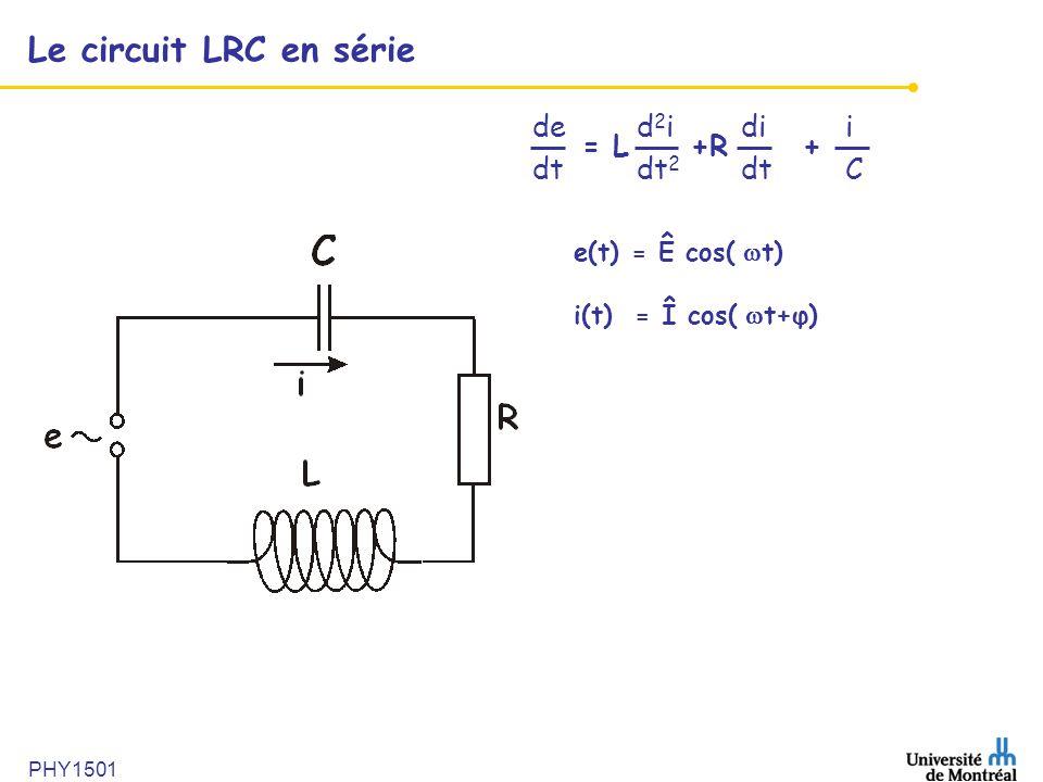 PHY1501 Le circuit LRC en série ded 2 idii dt dt 2 dtC = L +R + e(t) = Ê cos( t) i(t) = Î cos( t+φ)