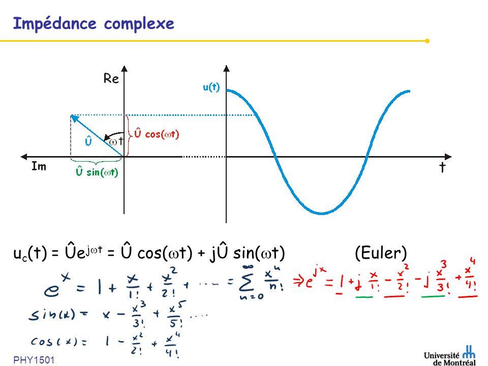 PHY1501 Impédance complexe u c (t) = Ûe j t = Û cos( t) + jÛ sin( t) (Euler)