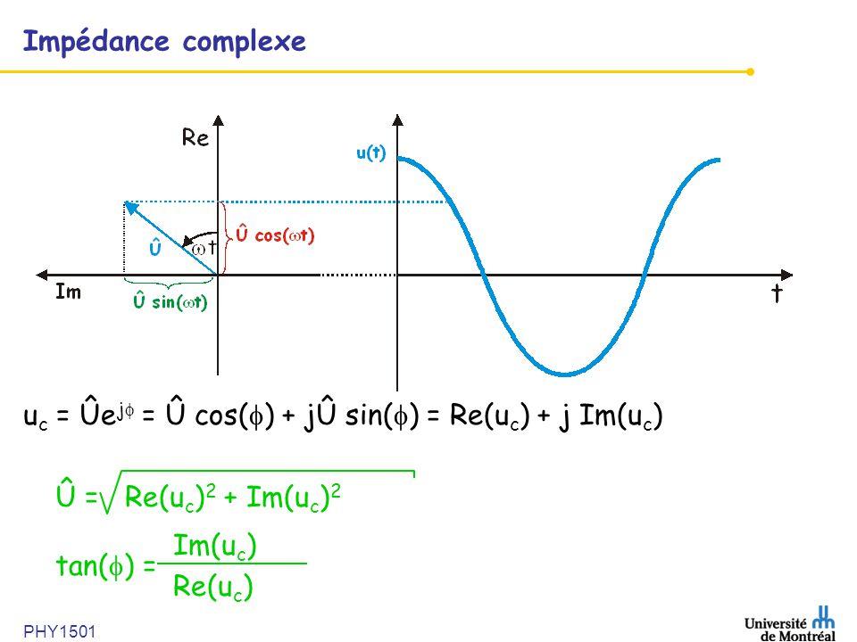 PHY1501 Impédance complexe u c = Ûe j = Û cos( ) + jÛ sin( ) = Re(u c ) + j Im(u c ) Û = Re(u c ) 2 + Im(u c ) 2 tan( ) = Im(u c ) Re(u c )