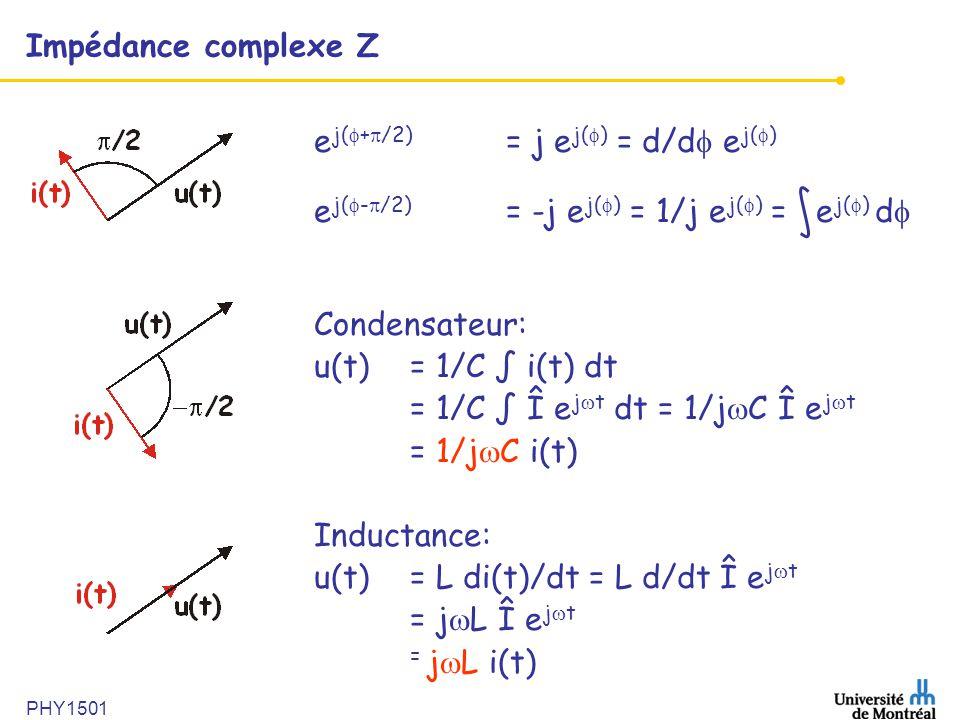 PHY1501 Impédance complexe Z e j( + /2) = j e j( ) = d/d e j( ) e j( - /2) = -j e j( ) = 1/j e j( ) = e j( ) d Condensateur: u(t) = 1/C i(t) dt = 1/C
