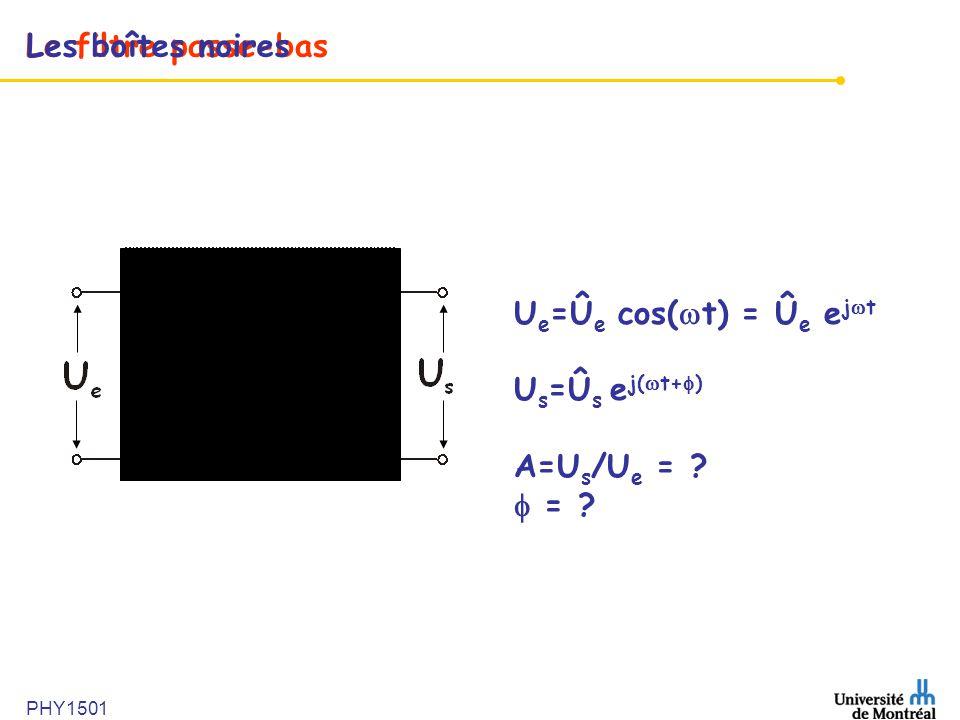 Le filtre passe-bas U e =Û e cos( t) = Û e e j t U s =Û s e j( t+ ) A=U s /U e = ? = ? Les boîtes noires