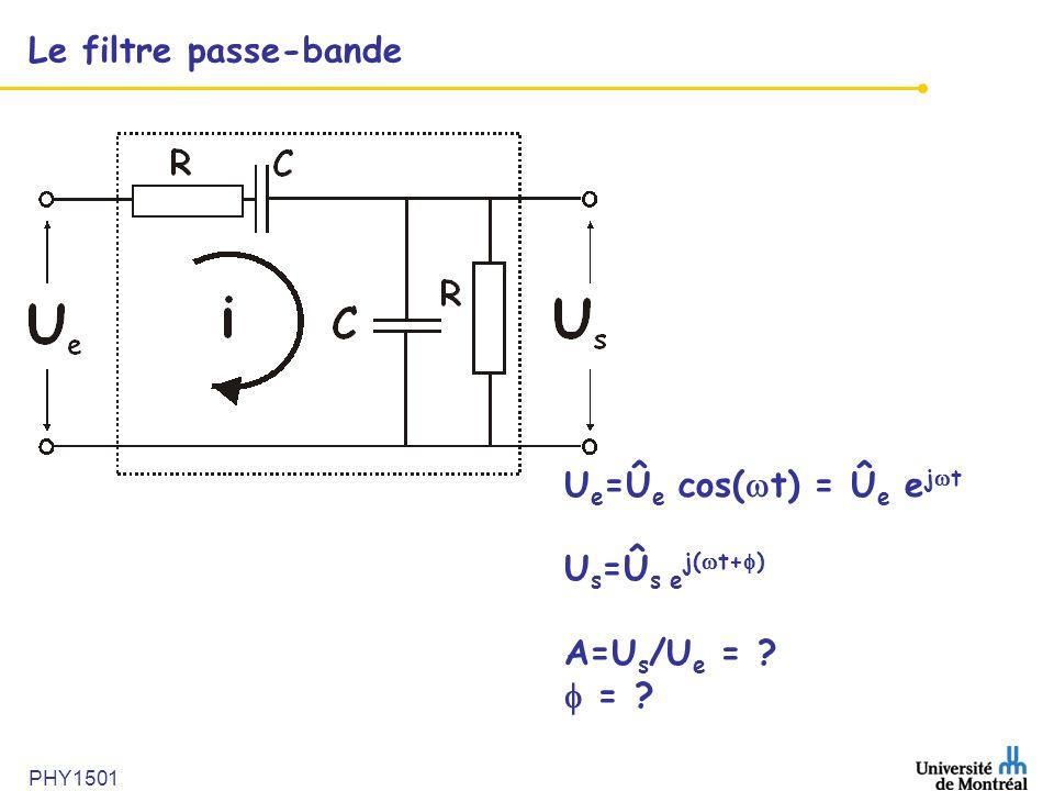 Le filtre passe-bande U e =Û e cos( t) = Û e e j t U s =Û s e j( t+ ) A=U s /U e = ? = ?
