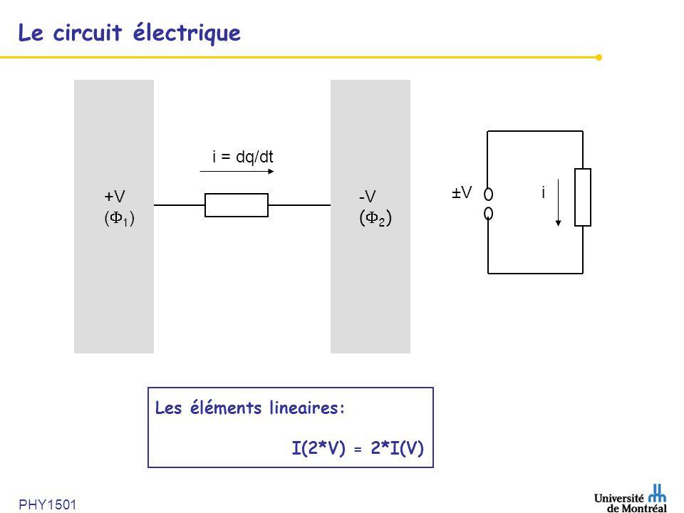 PHY1501 Le circuit électrique i = dq/dt +V ( 1 ) -V ( 2 ) ±Vi Les éléments lineaires: I(2*V) = 2*I(V)