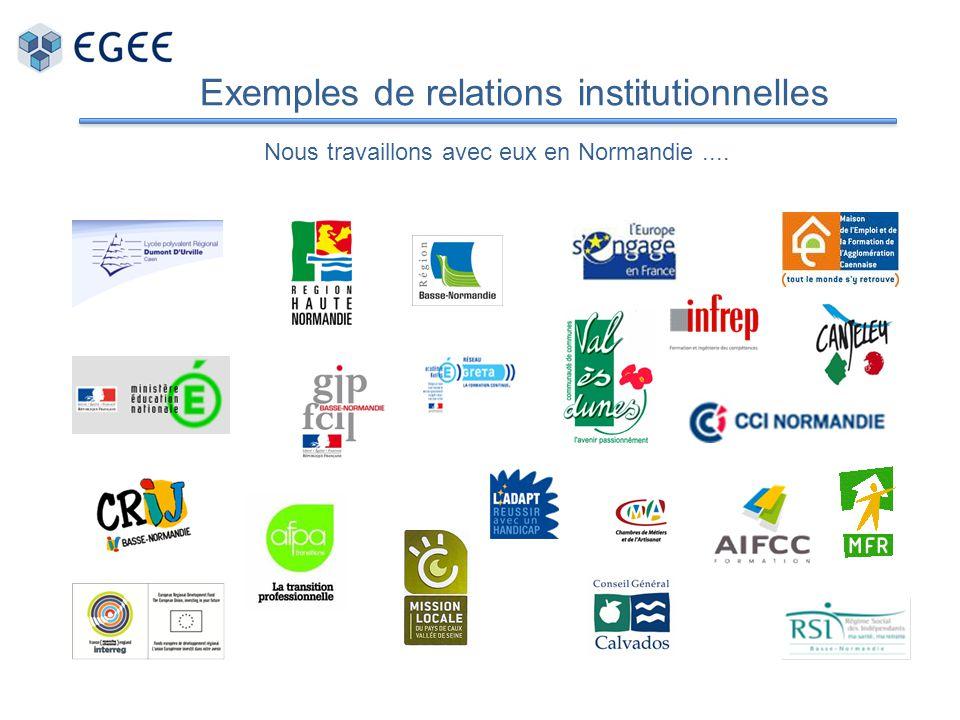 Exemples de relations institutionnelles Nous travaillons avec eux en Normandie....