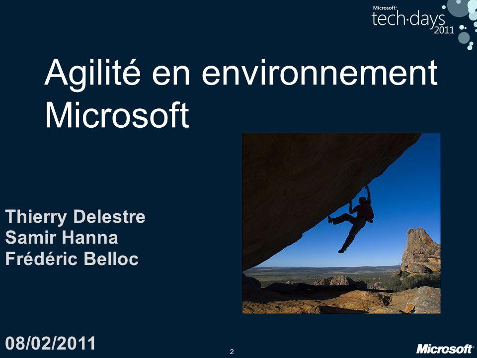2 Thierry Delestre Samir Hanna Frédéric Belloc 08/02/2011 Agilité en environnement Microsoft