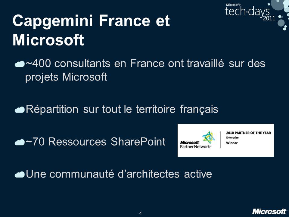 4 Capgemini France et Microsoft ~400 consultants en France ont travaillé sur des projets Microsoft Répartition sur tout le territoire français ~70 Res