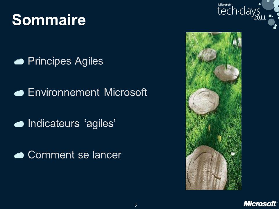 5 Sommaire Principes Agiles Environnement Microsoft Indicateurs agiles Comment se lancer