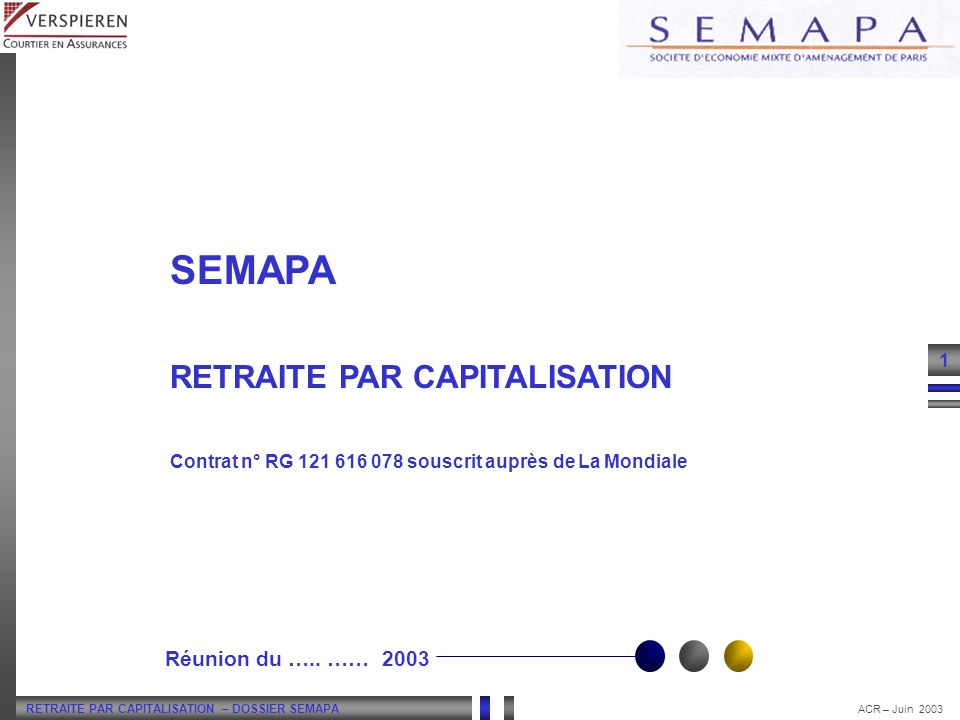 RETRAITE PAR CAPITALISATION – DOSSIER SEMAPA 2 ACR – Juin 2003 SOMMAIRE INTRODUCTION : LA RETRAITE – PRINCIPE ET FONCTIONNEMENT La Retraite : répartition / capitalisation Le Contrat SEMAPA : fonctionnement PREMIERE PARTIE : PHASE DE CAPITALISATION – LA GESTION FINANCIERE PAR HORIZON Le Marché Action : un constat Objectifs et Avantages de la Gestion par Horizon Principe : lallocation stratégique Sélection Annuelle des supports financiers Historique des rendements DEUXIEME PARTIE : PHASE DE RESTITUTION – LA RETRAITE FLEXIBLE Lors du départ en retraite : restitution de lépargne acquise en rente viagère La revalorisation de la rente Option Actuellement Proposée – la réversion : la protection du conjoint Les Nouvelles Options Proposées Option Dépendance : la majoration des revenus en cas de perte dautonomie Option Décès : la protection dun proche Option Annuités garanties : la protection dun proche Option Rente Majorée : la modularité des revenus Option Taux Technique : choisir lévolution de ces revenus