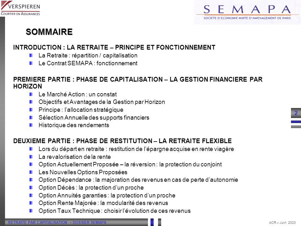 RETRAITE PAR CAPITALISATION – DOSSIER SEMAPA 2 ACR – Juin 2003 SOMMAIRE INTRODUCTION : LA RETRAITE – PRINCIPE ET FONCTIONNEMENT La Retraite : répartit