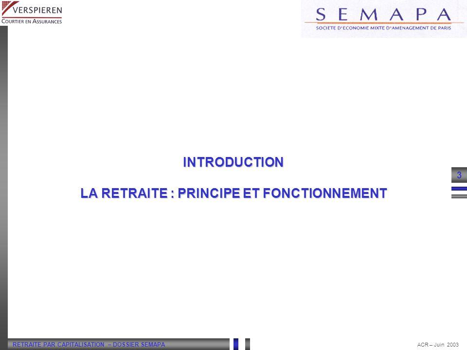 RETRAITE PAR CAPITALISATION – DOSSIER SEMAPA 3 ACR – Juin 2003 INTRODUCTION LA RETRAITE : PRINCIPE ET FONCTIONNEMENT