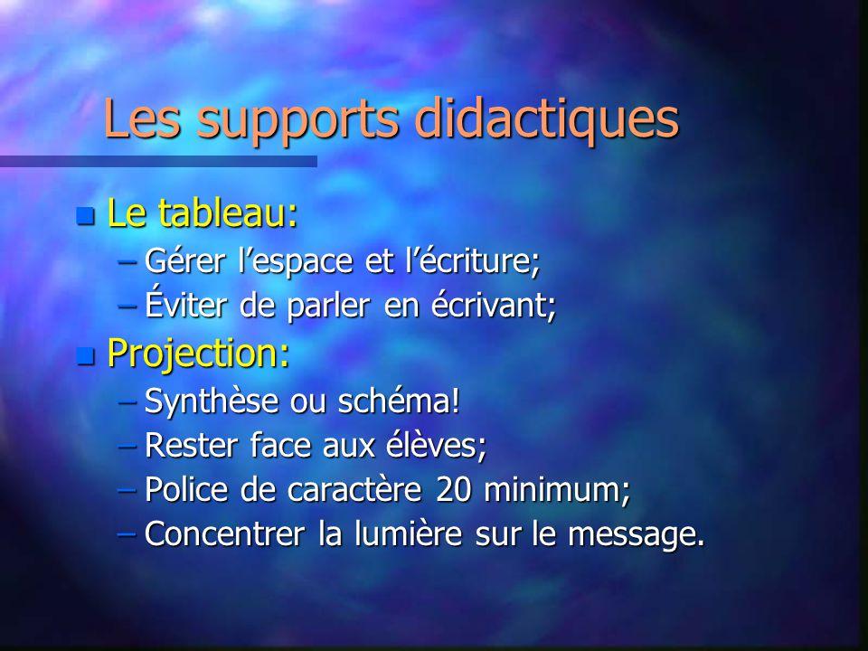 Les supports didactiques nLnLnLnLe tableau: –G–G–G–Gérer lespace et lécriture; –É–É–É–Éviter de parler en écrivant; nPnPnPnProjection: –S–S–S–Synthèse