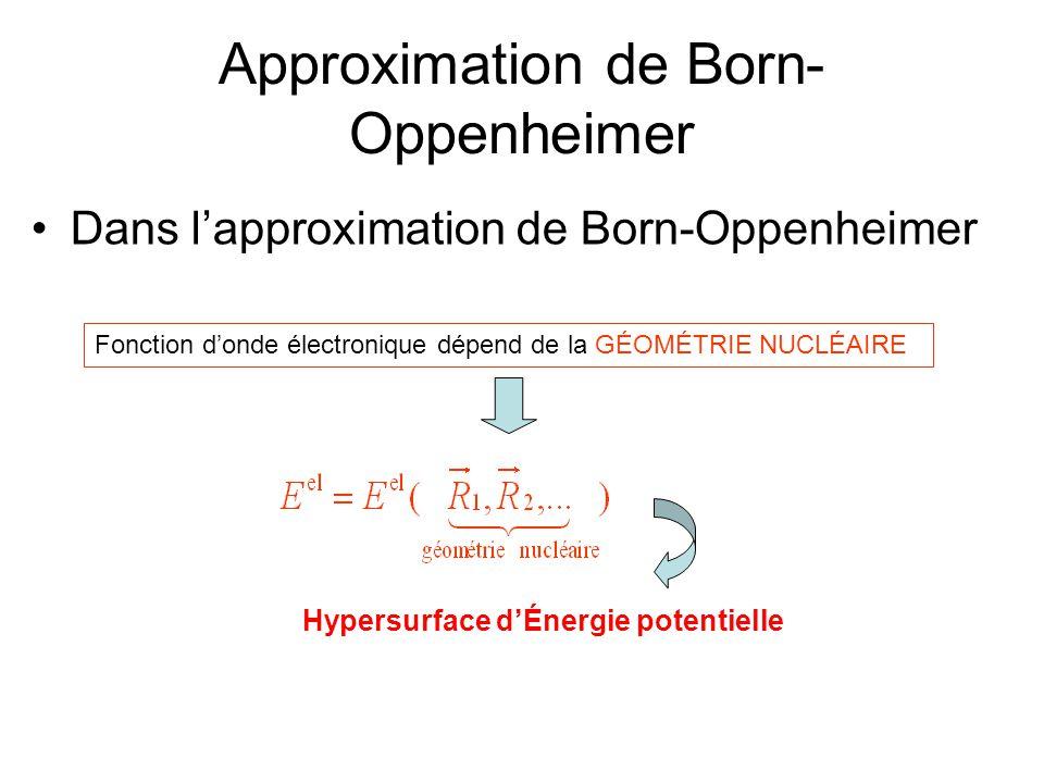 Approximation de Born- Oppenheimer Dans lapproximation de Born-Oppenheimer Hypersurface dÉnergie potentielle Fonction donde électronique dépend de la