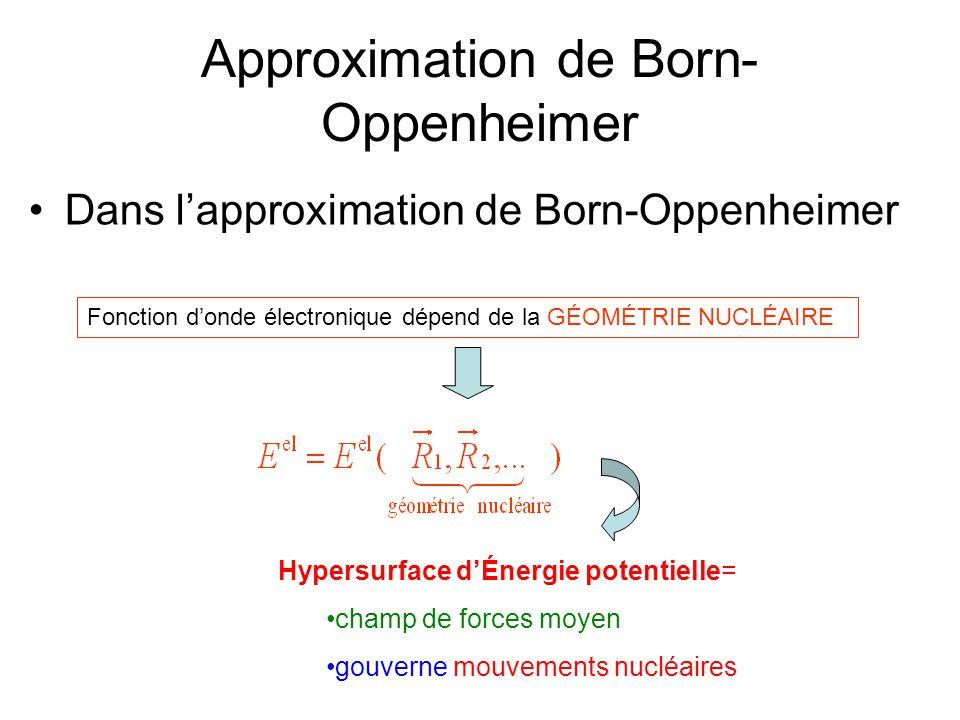 Approximation de Born- Oppenheimer Dans lapproximation de Born-Oppenheimer Fonction donde électronique dépend de la GÉOMÉTRIE NUCLÉAIRE Hypersurface d