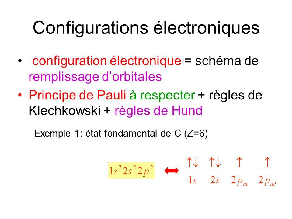 Configurations électroniques configuration électronique = schéma de remplissage dorbitales Principe de Pauli à respecter + règles de Klechkowski + règ
