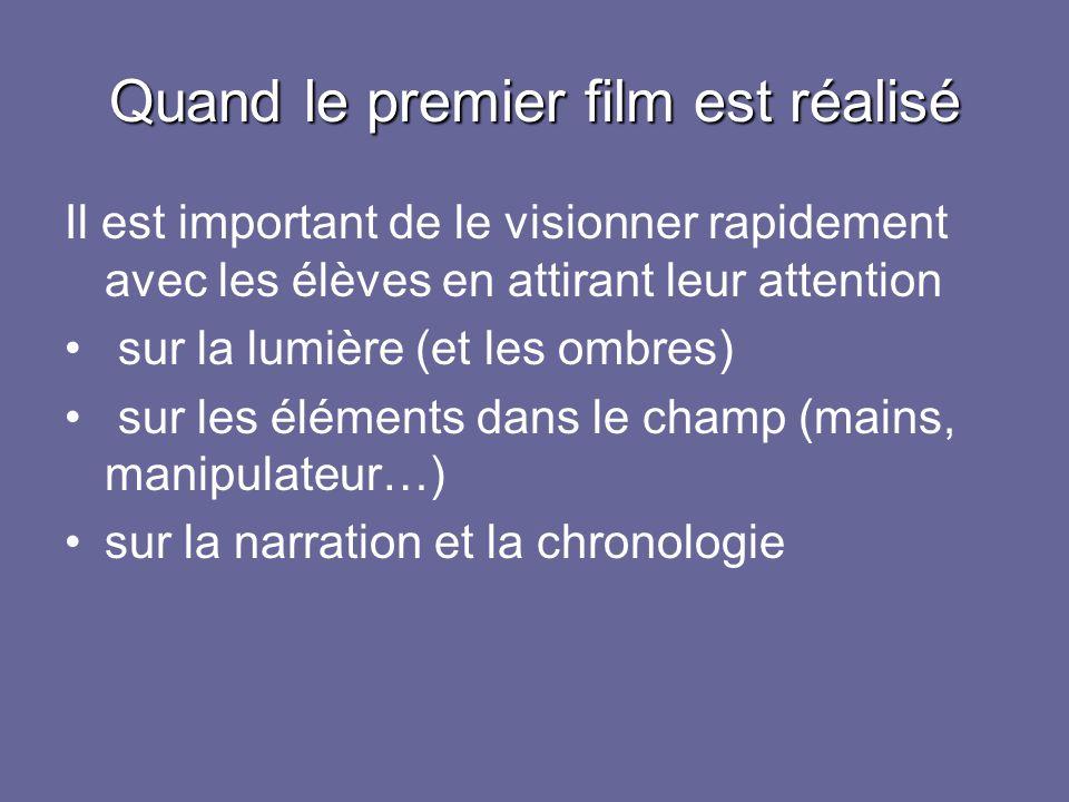 Quand le premier film est réalisé Il est important de le visionner rapidement avec les élèves en attirant leur attention sur la lumière (et les ombres) sur les éléments dans le champ (mains, manipulateur…) sur la narration et la chronologie