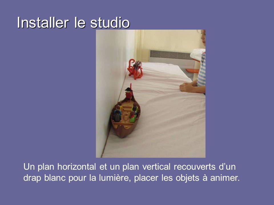 Un plan horizontal et un plan vertical recouverts dun drap blanc pour la lumière, placer les objets à animer.