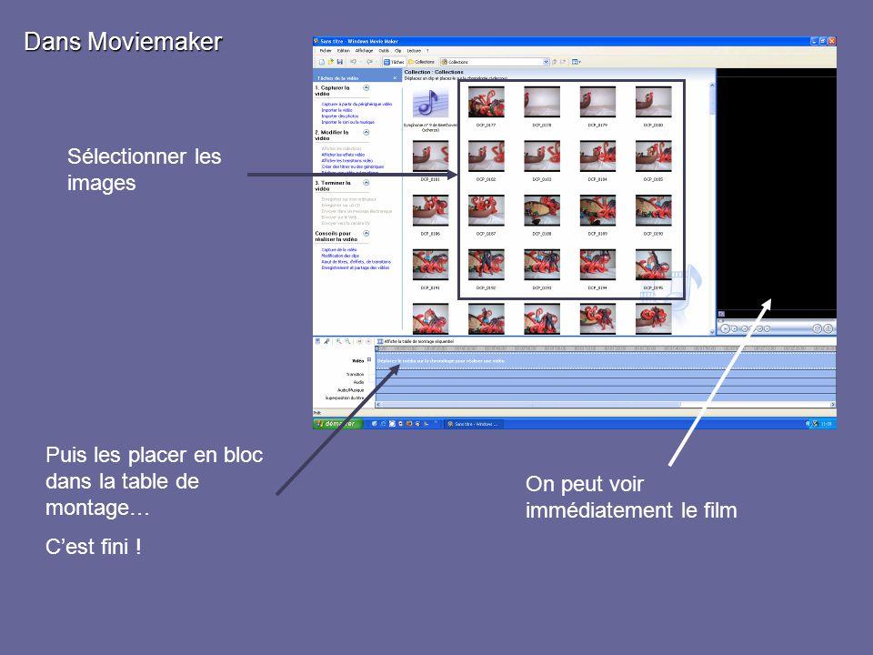 Sélectionner les images Dans Moviemaker Puis les placer en bloc dans la table de montage… Cest fini ! On peut voir immédiatement le film