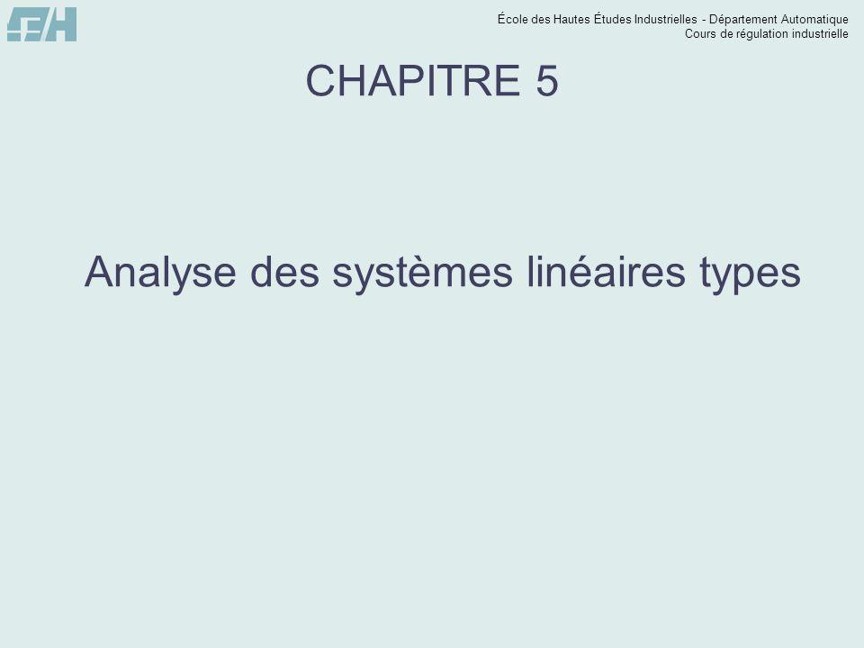 École des Hautes Études Industrielles - Département Automatique Cours de régulation industrielle CHAPITRE 5 Analyse des systèmes linéaires types