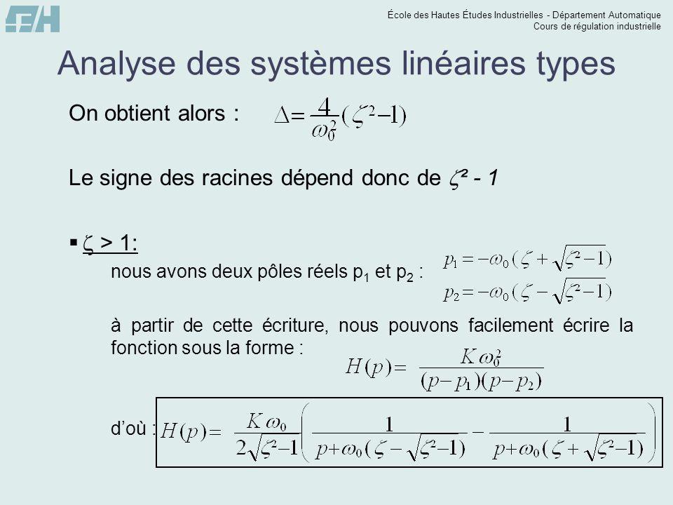 École des Hautes Études Industrielles - Département Automatique Cours de régulation industrielle Analyse des systèmes linéaires types On obtient alors : Le signe des racines dépend donc de ² - 1 > 1: nous avons deux pôles réels p 1 et p 2 : à partir de cette écriture, nous pouvons facilement écrire la fonction sous la forme : doù :