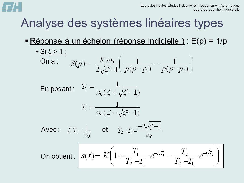 École des Hautes Études Industrielles - Département Automatique Cours de régulation industrielle Analyse des systèmes linéaires types Réponse à un échelon (réponse indicielle ) : E(p) = 1/p Si > 1 : On a : En posant :Avec :et On obtient :