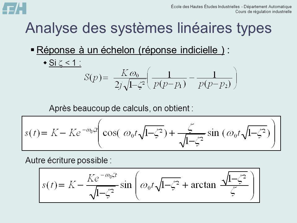 École des Hautes Études Industrielles - Département Automatique Cours de régulation industrielle Analyse des systèmes linéaires types Réponse à un échelon (réponse indicielle ) : Si < 1 : Après beaucoup de calculs, on obtient : Autre écriture possible :