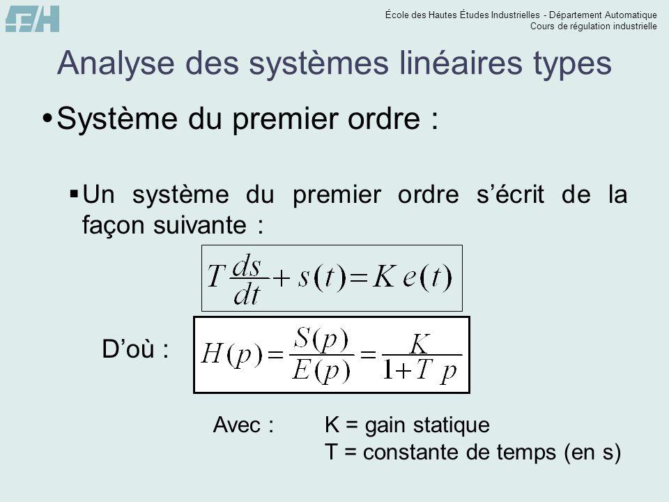 École des Hautes Études Industrielles - Département Automatique Cours de régulation industrielle Analyse des systèmes linéaires types Système du premier ordre : Un système du premier ordre sécrit de la façon suivante : Doù : Avec : K = gain statique T = constante de temps (en s)