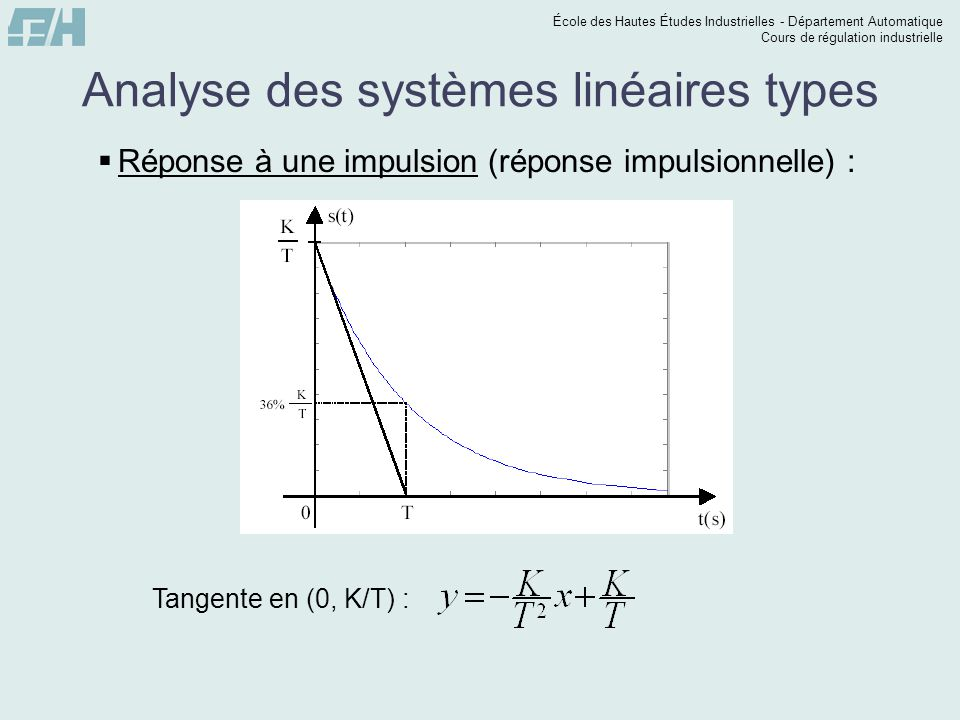 École des Hautes Études Industrielles - Département Automatique Cours de régulation industrielle Analyse des systèmes linéaires types Réponse à une impulsion (réponse impulsionnelle) : Tangente en (0, K/T) :