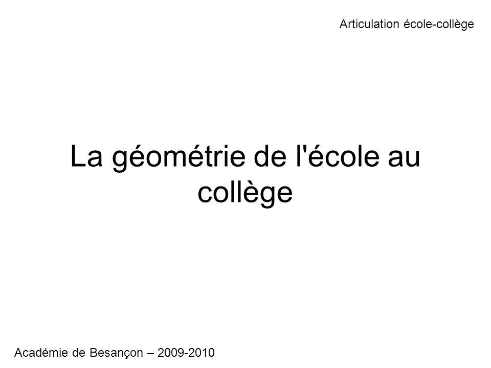 La géométrie de l'école au collège Articulation école-collège Académie de Besançon – 2009-2010