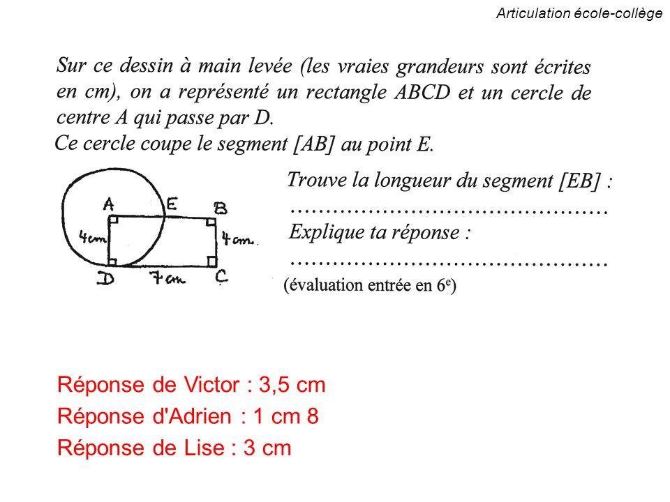 Articulation école-collège Réponse de Victor : 3,5 cm Réponse d Adrien : 1 cm 8 Réponse de Lise : 3 cm