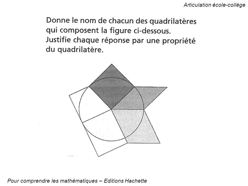 Articulation école-collège Pour comprendre les mathématiques – Editions Hachette