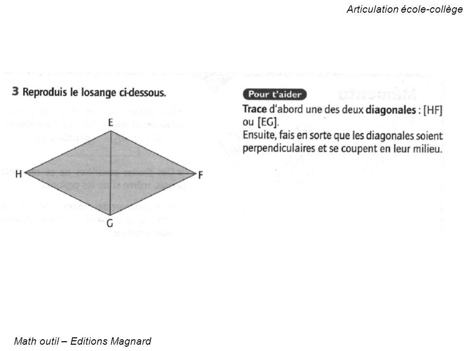 Articulation école-collège Math outil – Editions Magnard