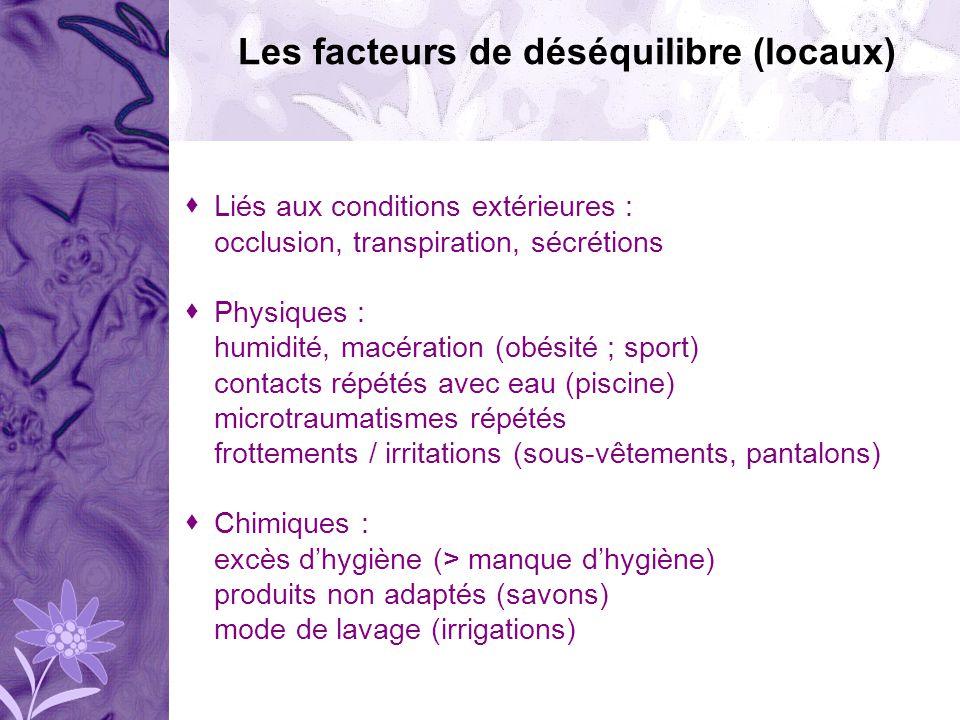 Liés aux conditions extérieures : occlusion, transpiration, sécrétions Physiques : humidité, macération (obésité ; sport) contacts répétés avec eau (p