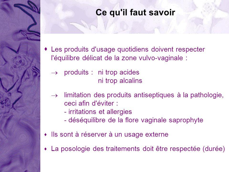 Les produits d'usage quotidiens doivent respecter l'équilibre délicat de la zone vulvo-vaginale : produits :ni trop acides ni trop alcalins limitation