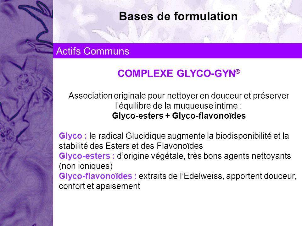 COMPLEXE GLYCO-GYN ® Association originale pour nettoyer en douceur et préserver léquilibre de la muqueuse intime : Glyco-esters + Glyco-flavonoïdes G