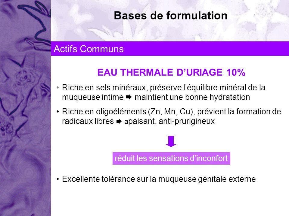 Bases de formulation Actifs Communs EAU THERMALE DURIAGE 10% Riche en sels minéraux, préserve léquilibre minéral de la muqueuse intime maintient une b