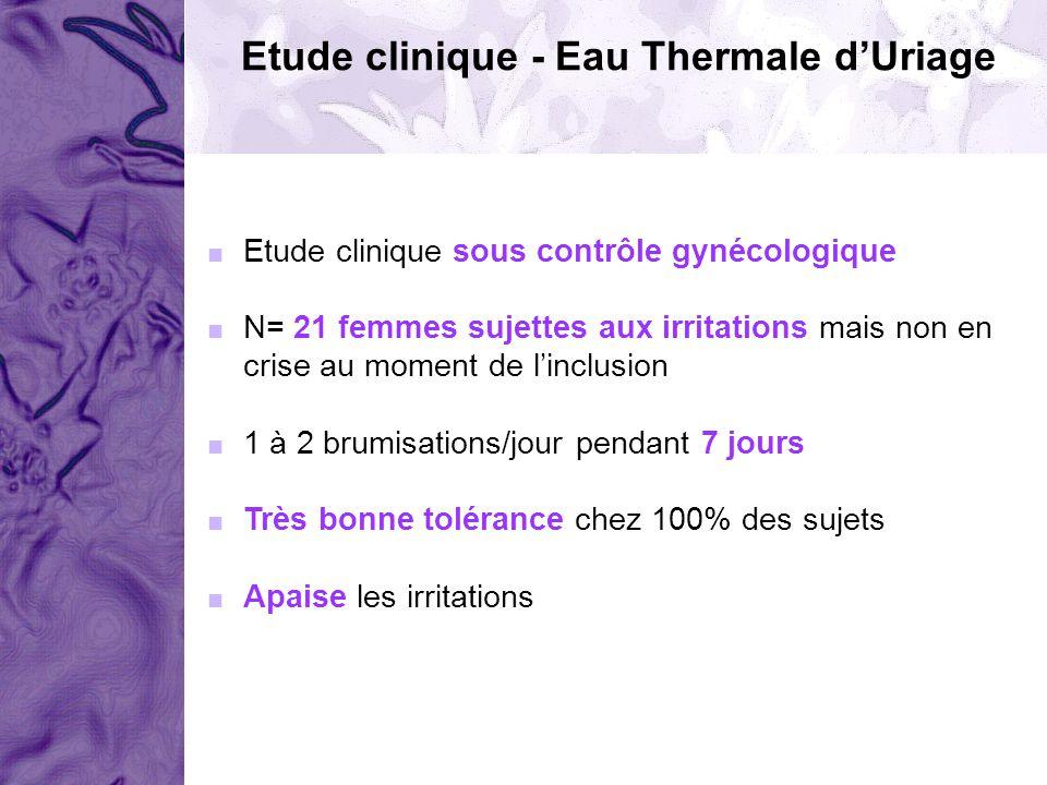 Etude clinique - Eau Thermale dUriage Etude clinique sous contrôle gynécologique N= 21 femmes sujettes aux irritations mais non en crise au moment de