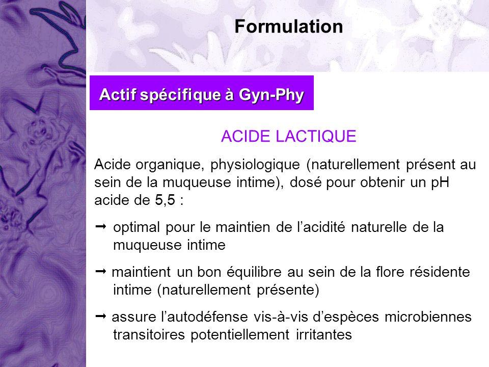 Formulation Actif spécifique à Gyn-Phy ACIDE LACTIQUE Acide organique, physiologique (naturellement présent au sein de la muqueuse intime), dosé pour