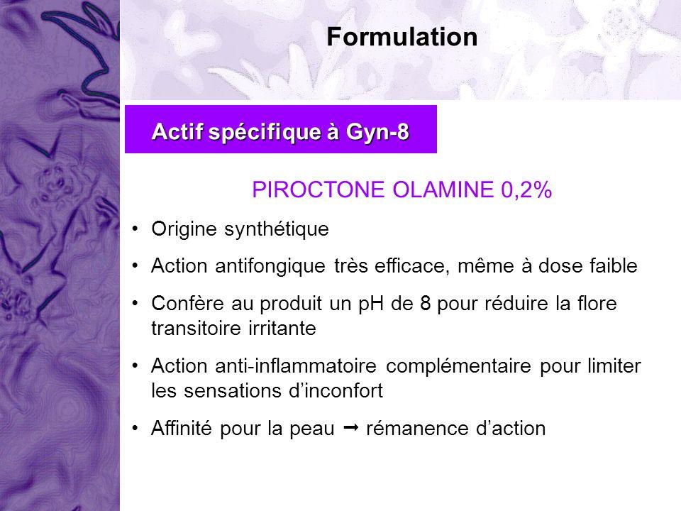 Formulation Actif spécifique à Gyn-8 PIROCTONE OLAMINE 0,2% Origine synthétique Action antifongique très efficace, même à dose faible Confère au produ