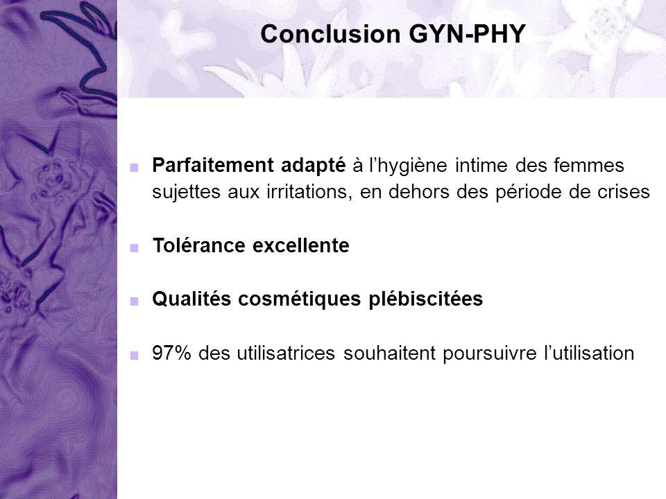 Conclusion GYN-PHY Parfaitement adapté à lhygiène intime des femmes sujettes aux irritations, en dehors des période de crises Tolérance excellente Qua