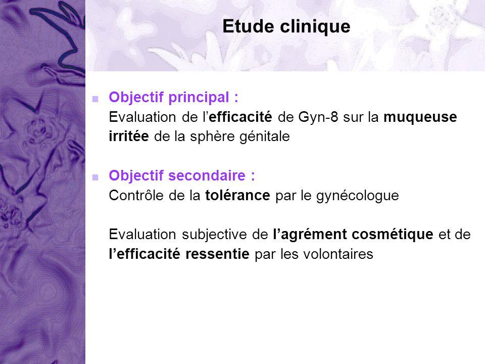 Etude clinique Objectif principal : Evaluation de lefficacité de Gyn-8 sur la muqueuse irritée de la sphère génitale Objectif secondaire : Contrôle de