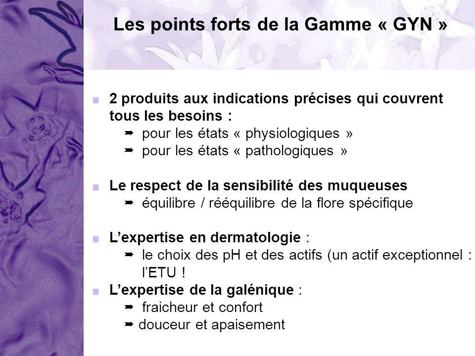 Les points forts de la Gamme « GYN » 2 produits aux indications précises qui couvrent tous les besoins : pour les états « physiologiques » pour les ét