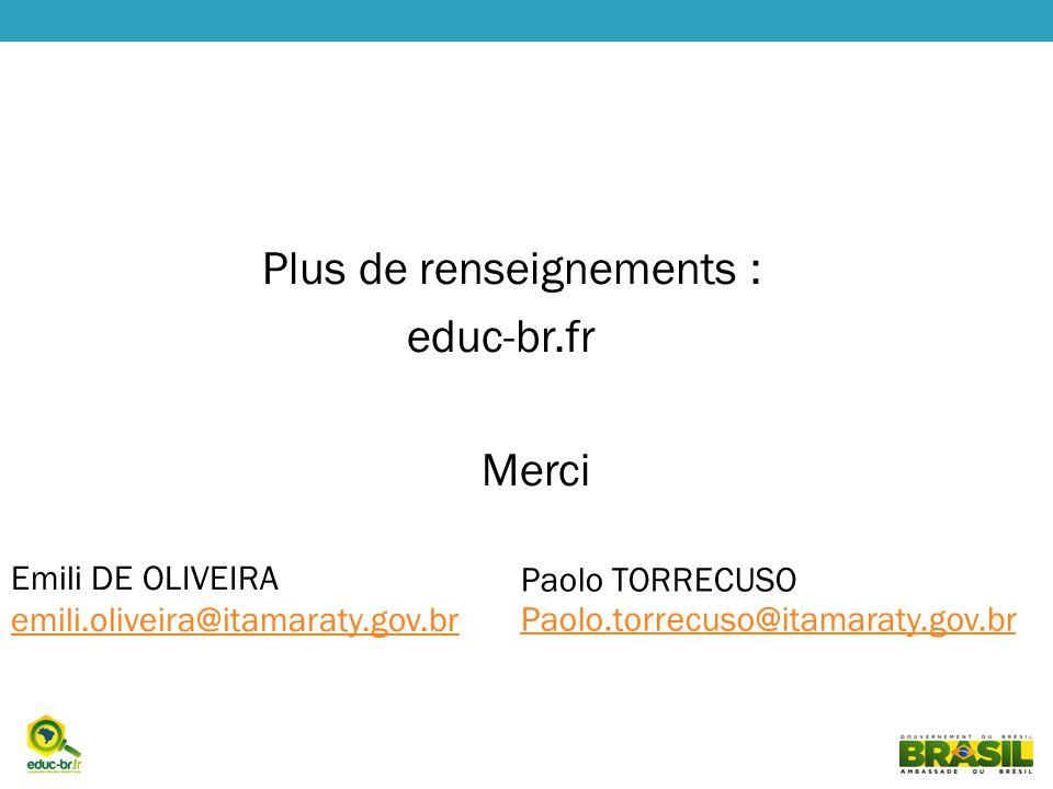Plus de renseignements : educ-br.fr Merci Emili DE OLIVEIRA emili.oliveira@itamaraty.gov.br emili.oliveira@itamaraty.gov.br Paolo TORRECUSO Paolo.torrecuso@itamaraty.gov.br