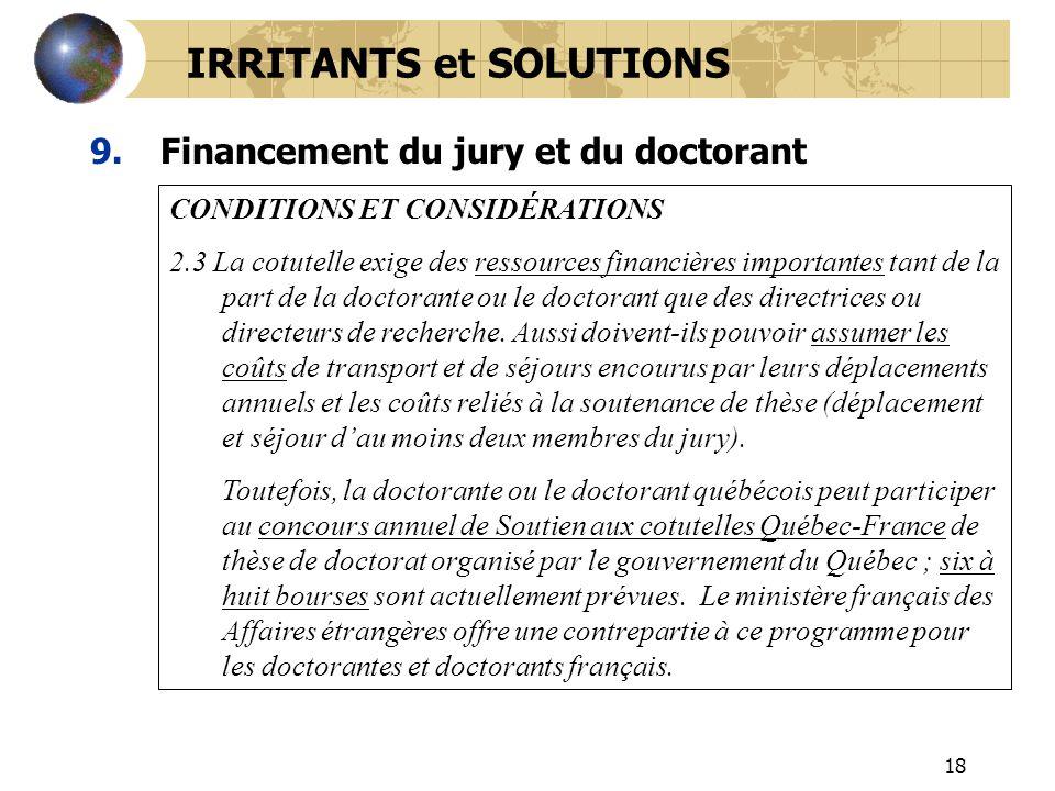 18 9.Financement du jury et du doctorant CONDITIONS ET CONSIDÉRATIONS 2.3 La cotutelle exige des ressources financières importantes tant de la part de