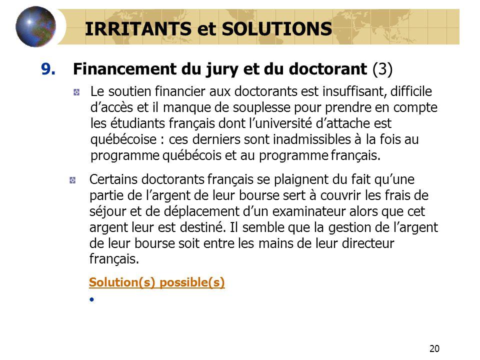 20 9.Financement du jury et du doctorant (3) IRRITANTS et SOLUTIONS Le soutien financier aux doctorants est insuffisant, difficile daccès et il manque