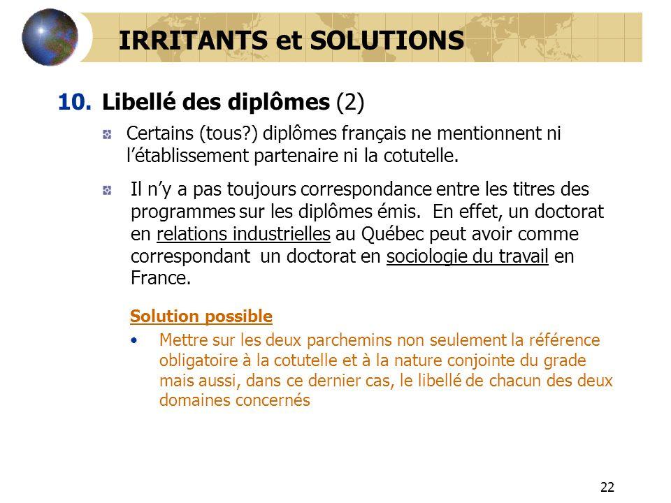 22 IRRITANTS et SOLUTIONS 10.Libellé des diplômes (2) Certains (tous?) diplômes français ne mentionnent ni létablissement partenaire ni la cotutelle.