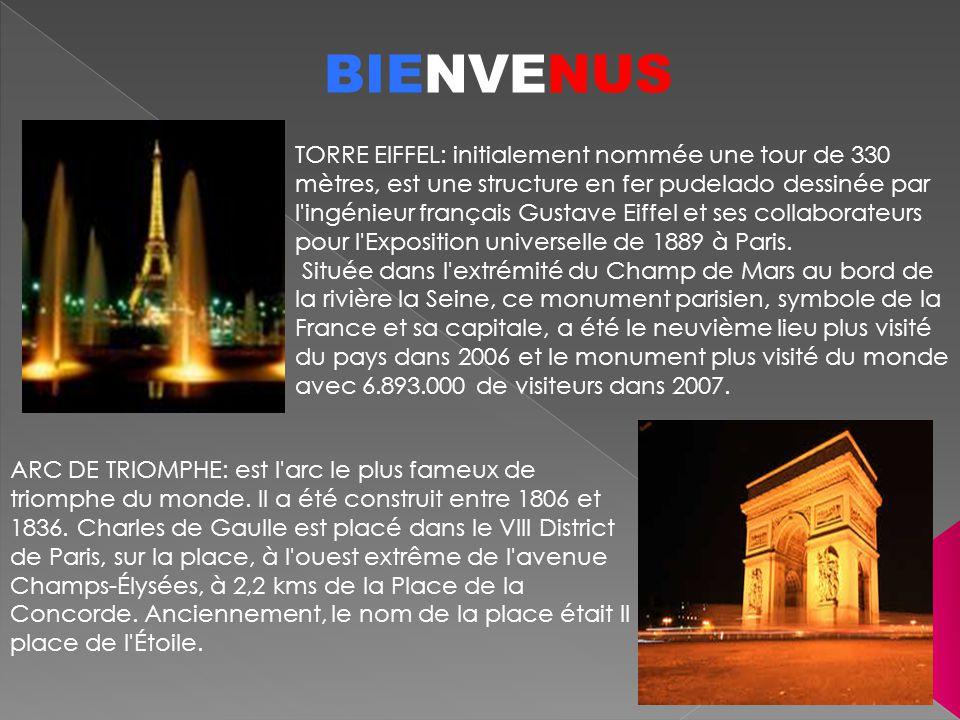 BIENVENUS TORRE EIFFEL: initialement nommée une tour de 330 mètres, est une structure en fer pudelado dessinée par l'ingénieur français Gustave Eiffel